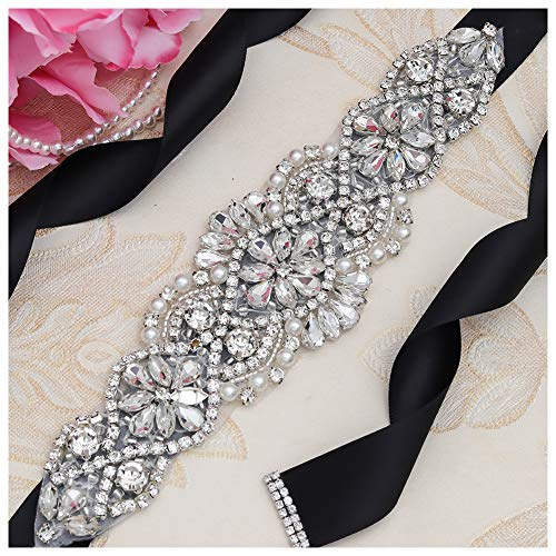 Yanstar Black Sash Crystal Applique Wedding Bridal Belts In Silver With Pearls Beaded On Wedding Prom Dress-7.7In2In