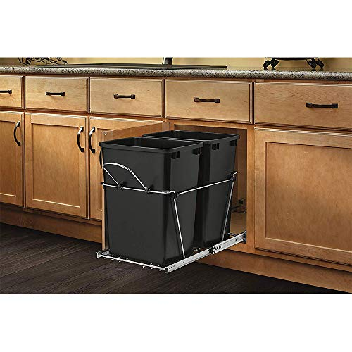Rev-A-Shelf RV-18KD-18C S Double 35 Quart Sliding Pull Out Waste Bin Container (Put The Recycle Bin In The Recycle Bin)
