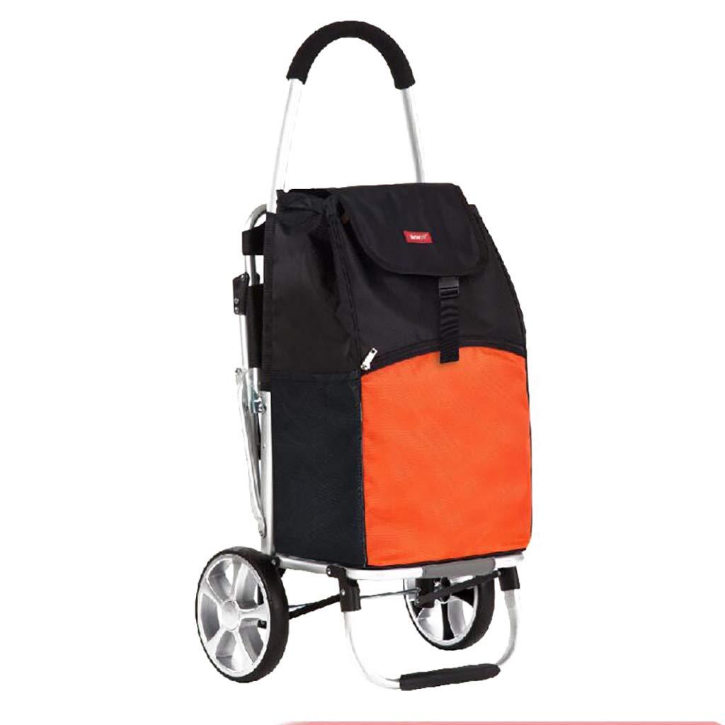 ショッピングキャリー 家庭用ショッピングカート荷物トレーラー折りたたみ式ポータブルトロリーアルミニウム合金55L (色 : A) B07HL662J8 A