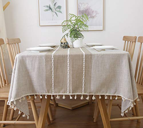 (famibay Square Decoration Tablecloth 55x55 Cotton Linen Elegant Table Cloth with Tassel Edge Dust-Proof Washable Kitchen Table Cover for Dining Table (Linen) )