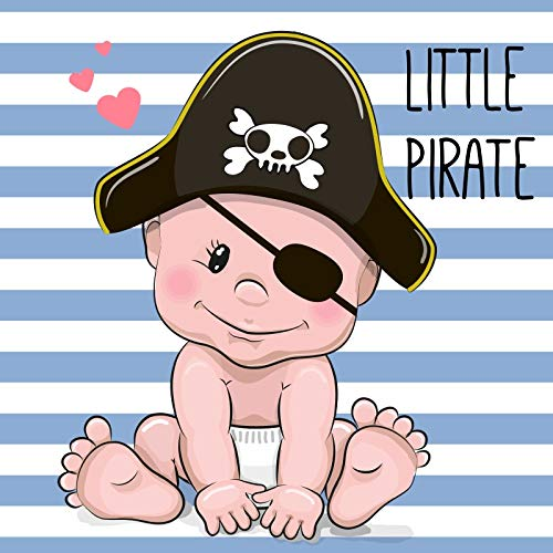 Leyiyi 10x10ft Cartoon Little Pirate Party Backdrop Baby Background Shower Blue White Striped Banner Welcome Newborn Kids Happy Birthday 1st B Day Skull Hat Photo Portrait Vinyl Prop Studio Booth]()