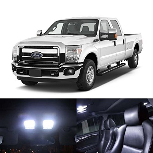Partsam White Interior LED Light Package Kit for Ford Super Duty F-250 F-350 F-450 2005 & Up (8 Pieces)