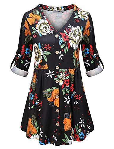 Tunics for Women Plus Size, Womens Boutique Clothing V Neck 3/4 Rolled Long Sleeve Shirts and Blouses Drape Highwaist Swing A Line Pregnancy Loose Fitting Tops Soft Surroundings Black XXL - Cotton Print Empire Top