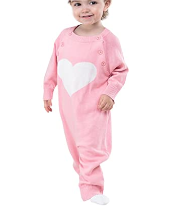 Bebé Niños Niñas Pelele Patrón De Corazón Conjunto De Manga Larga Romper Pink 90: Amazon.es: Ropa y accesorios