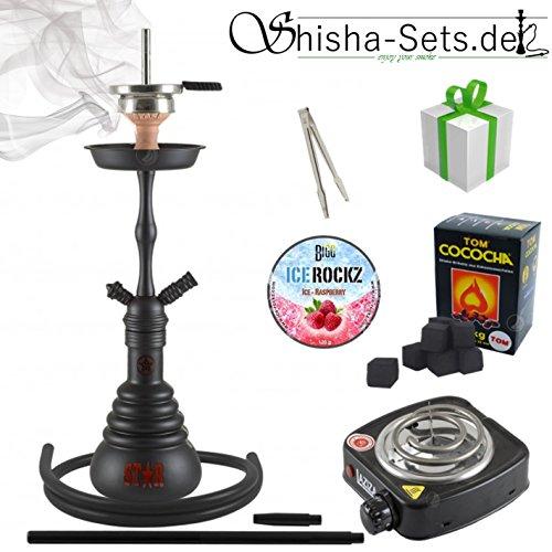 Shisha-Set mit Shisha 4-Stars 440D, Kohleanzünder, Dampfsteine, Naturkohle, Kaminaufsatz und eine kleine Überraschung…
