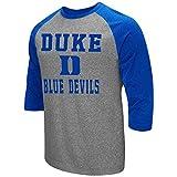 Colosseum Men's NCAA-Raglan-3/4 Sleeve-Heathered-Baseball T-Shirt-Duke Blue Devils-XXL