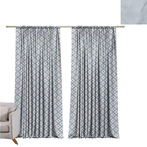 - DESPKON-HOME Curtain Set of 2 Panels,Geometric Circular Shapes Pattern with Oval Details and Plus Signs Modern Abstract 2 Panel Darkening Curtains (63W x 72L inch,Slate Blue White)
