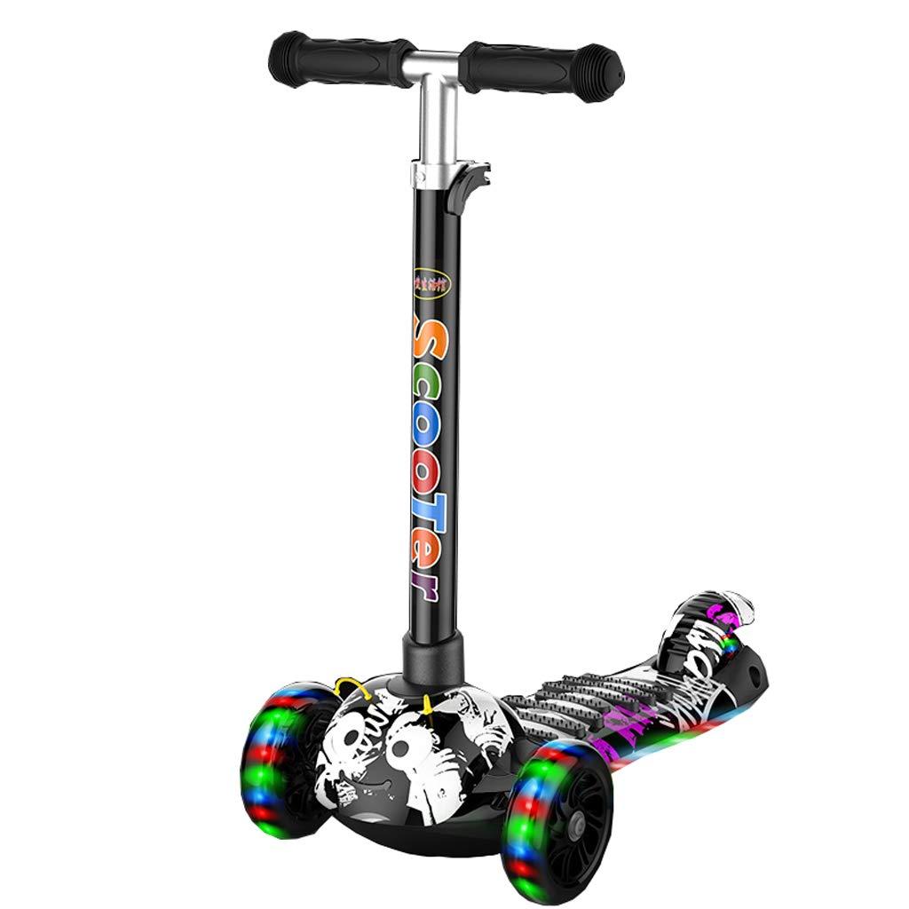 Kinder-Roller Dreirad vier Jahre altes Kinderpaddelbrett Jungen und Mädchen Slippery Scooter Music Flash (Farbe   Weiß)