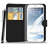 Samsung Galaxy Note 2 N7100 Leather Wallet Flip Case Cover Pouch & Touch Stylus Pen + Screen Guard & Cleaning Cloth - BLACK