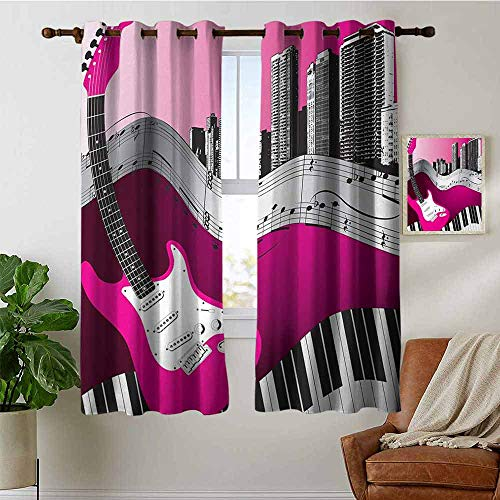 (petpany Customized Curtains Music,Bass Guitar Keyboard Urban Rock Backdrop Rhythm of City Illustration,Hot Pink Light Grey Black,Blackout Draperies for Bedroom Living Room 42