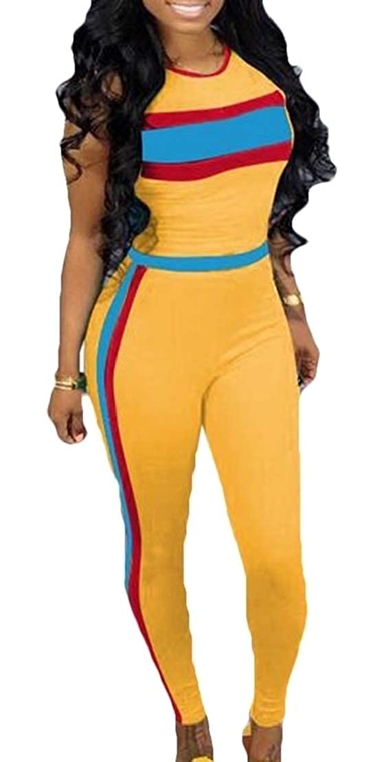 Jotebriyo Women 2 Piece Outfits Tracksuit Sleeveless Color Block Tops and Pants Set