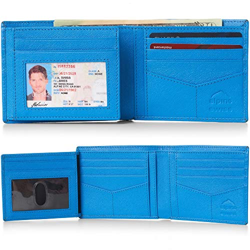 Alpine Swiss RFID Mens Wallet Deluxe Capacity Hybrid Flipout ID Bifold With Divided Bill Section Crosshatch Aqua