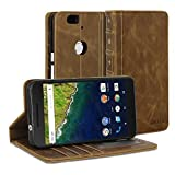 Google Nexus 6P Case, GMYLE Book Case Vintage for Google Nexus 6P - Brown PU Leather Stand Case Cover
