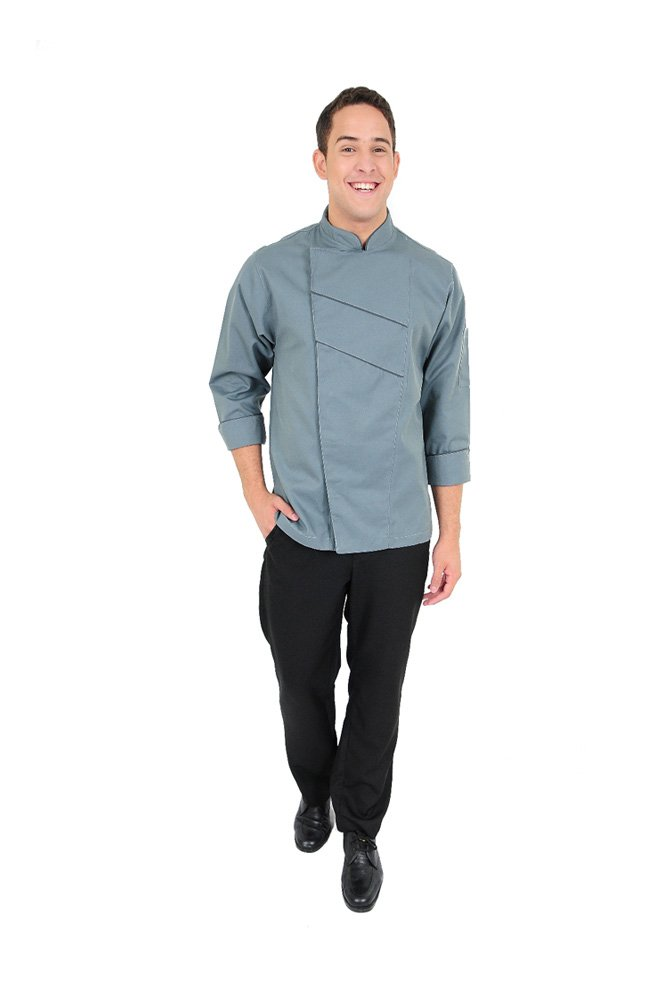 DAM Uniforms Unisex Long Sleeves Grey Front Stripes Black Chef Coat