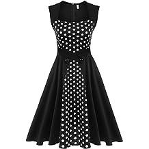 Meaneor Women's 1950s Retro Vintage Sleeveless Polka Dot Swing Party Tea Dress