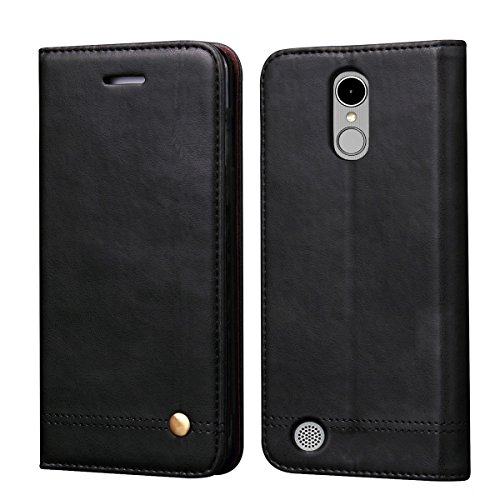 LG K8 2017 Case,LG Phoenix 3 Case,LG Aristo Case,LG Fortune/LG Rebel 2 LTE/LG Risio 2 /LG LV3 Case,RUIHUI Flip Leather Protective Wallet Cover Case with Card Slots,Kickstand and Magnetic Closure,Black by Free-Case