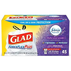 Glad ForceFlexPlus Tall Kitchen Drawstring Trash Bags, with Febreze Mediterranean Lavender, 13 Gallon