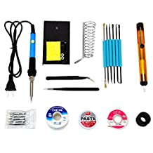 HUAHA Electric Soldering Iron Kit with 60W 110V Adjustable Temperature Welding Iron,Solder Wire,Solder Sucker,Solder Stand,Screwdriver,Soldering Tips,Maintenance of Cables (Style A)