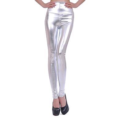 6ca3a7a2804 LAEMILIA Leggings Femme Collant Crayon Taille Haute Cuir Faux PU Sexy  Casual Elastique Slim Basique (