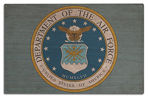 Lantern Press Department of The Air Force - Military - Insignia (10x15 Wood Wall Sign, Wall Decor Ready to Hang)