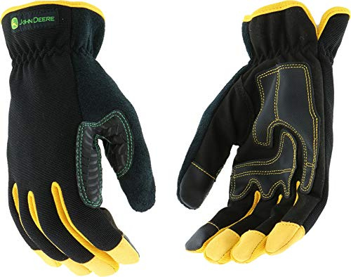 West Chester John Deere JD00029 High Dexterity Synthetic Leather Palm Utility Work Gloves with Touch Screen: Black/Yellow, X-Large, 1 Pair ()