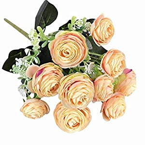 MARJON Flowers1Pc Artificial Camellia Flower Garden DIY Party Home Wedding Holiday Craft Decor - Champagne 28