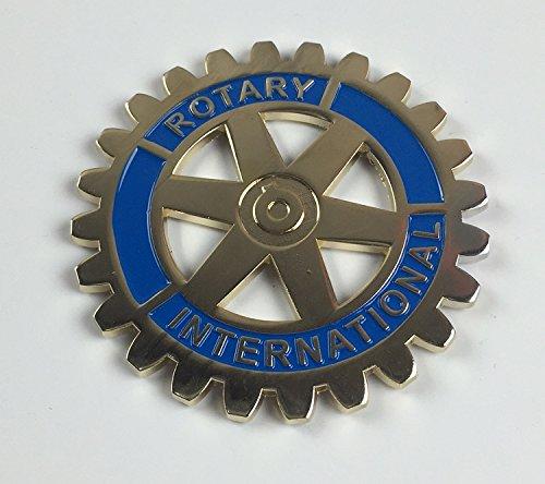 """Rotary International Round Gold & Blue Car Auto Emblem - 3"""" Diameter"""
