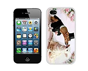 Best Iphone 4s White Case Cute Dogs Wedding Pets Kiss Durable Soft Silicone Phone Back Cover for Iphone 4