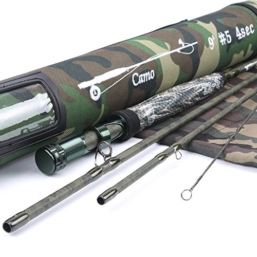 Maxcatch Camo Fly Fishing Rod 4-Piece, 5-Weight, 9 ft IM12 Carbon Rod with Cordura Tube