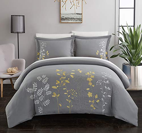 (Chic Home Kaylee 3 Piece Duvet Cover Set Embroidered Floral Design Backing Zipper Closure Bedding - Decorative Pillow Shams Included, King, Yellow)
