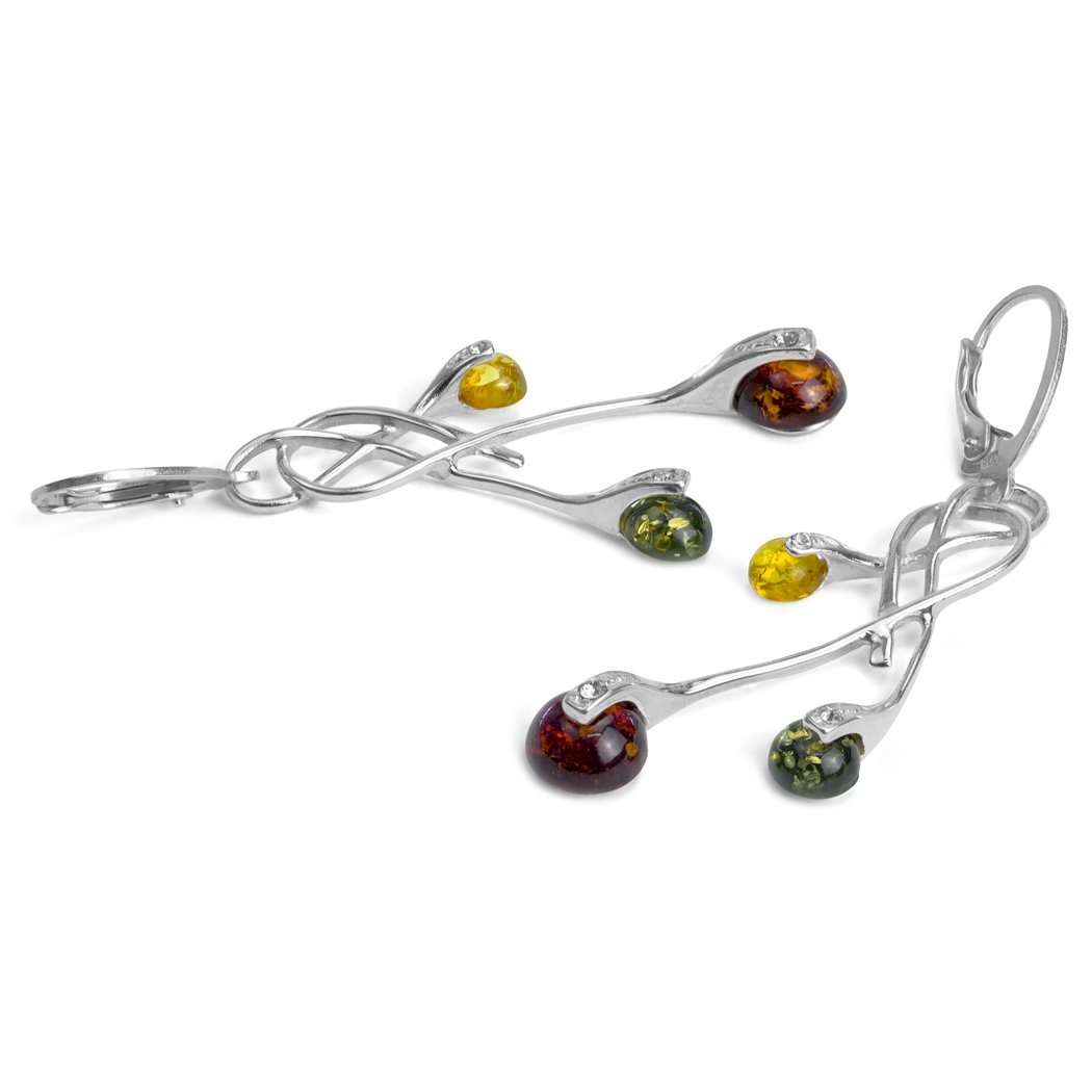 Sterling Silver Multicolor Amber Art Deco Dangle Leverback Earrings