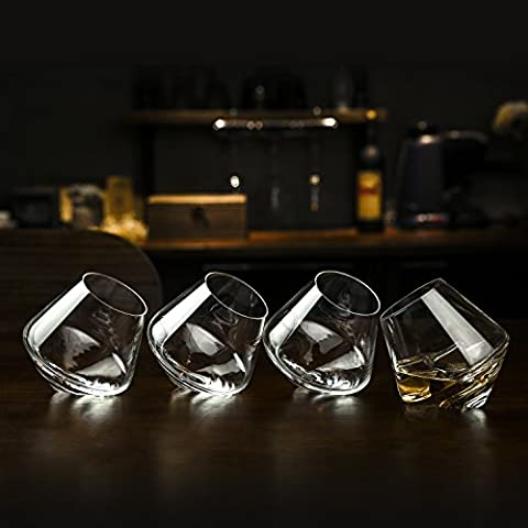 Set of 4 Tilted Crystal Whiskey Tumblers, Old Fashioned Scotch & Bourbon Glasses in Gift Box