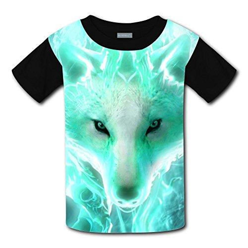 CuGuGo Youth Cool White Burning Wolf 3D T Shirt Kids Short Sleeve -