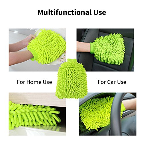Lint-Free Scratch-Free Car Universal Washing Mitts, Chenille Plush Microfiber Cleaning Gloves for car