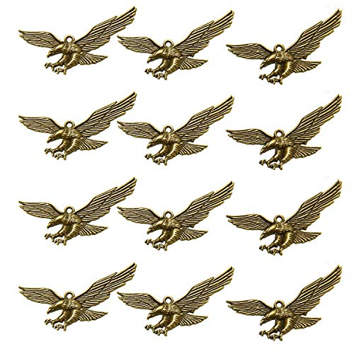 Monrocco 30Pcs Alloy Metal Beads Eagle Charms Jewelry Finding for Necklace Bracelet Earring Jewelry Making, Antique Brown