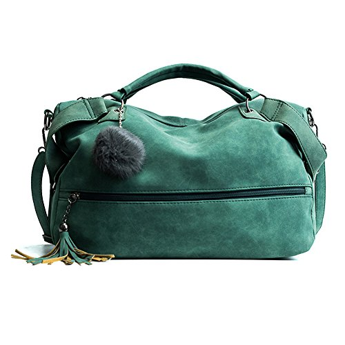 Meaeo Bolso Bolso New Cross Europa Lady Barrer Todo El Pelo-Match Ball Bolso Simple Paquete Xiekua,Gris Green