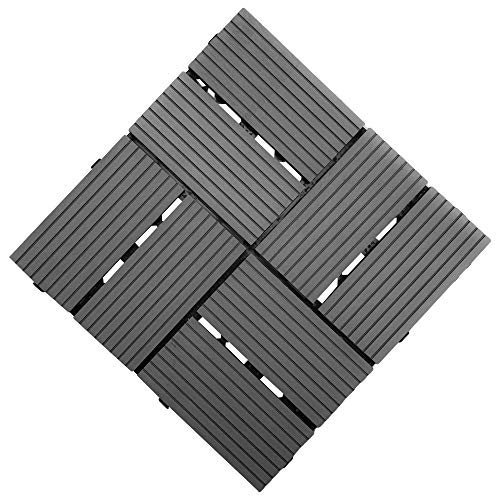 """Samincom Patio and Deck Tiles - Interlocking Check Pattern Indoor Outdoor Flooring Weather and Slip Resistant Square, Water Resistant Flooring Tiles, 12""""× 12"""", Pack of 22 (22 sq.ft), 8-Slats Dark Grey"""
