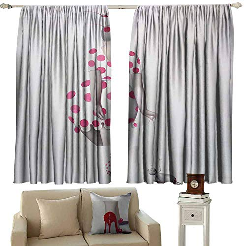 Mannwarehouse Bedroom Windproof Curtain Pink dot Woman Set of Two Panels 63