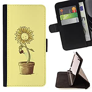 Jordan Colourful Shop - sun flower pot watering can yellow happiness For Apple Iphone 5C - < Leather Case Absorci????n cubierta de la caja de alto impacto > -