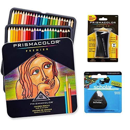 Prismacolor Quality Art Set - Premier Colored Pencils 48 Pack, Premier Pencil Sharpener 1 Pack and Latex-Free Scholar Eraser 1 Pack by Prismacolor