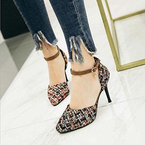 de Negro para Alto Tacón Negro Zapatos 40 Desnudos Sandalias Palabra Moda Rosa Salvaje 34 Mujer Azul Talla Hebilla de wq1U5I5