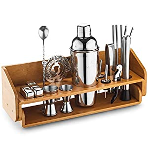 Mitbak Professional Bartender Kit | 20-Piece Bar Accessories Set | Look Like A Pro With 25 OZ Cocktail Shaker Bottle, Strainer, Jigger, Steel Straws, Whiskey Stones & More | Excellent Gift