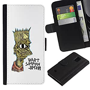 ARTCO Cases - Samsung Galaxy S5 Mini, SM-G800, NOT S5 REGULAR! - Psychedelic Cartton Family Bart - Cuero PU Delgado caso Billetera cubierta Shell Armor Funda Case Cover Wallet Credit Card