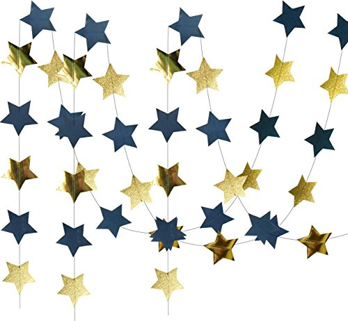 Furuix Outer Space Decorations Birthday Party Decorations 2pcs Navy Blue Glitter Gold Paper Star Garlands Star String for Baby Shower Decorations -