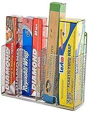 EZOWare Silver Finish Wall Door Mount Kitchen Wrap Organizer Silver Rack for Food Storage Bags, Aluminum Foil, Wax Paper, Sandwich Bags, Plastic Wrap