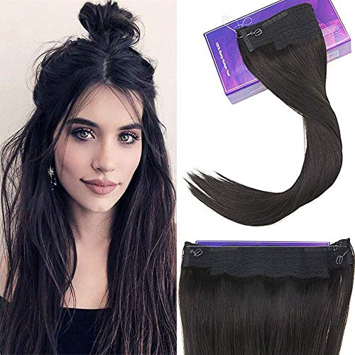 LaaVoo 14 Hidden Halo on Hair Extensions Color #1b Off Black Flip on Remy Human Hair Fish Line Hairpieces 11inch Width 80 Grams One Piece