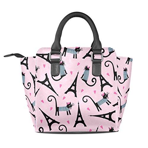 Handle Cute Eiffel Cat PU Top Bags Leather Parisian And Cartoon Handbags Tour Tower Women's TIZORAX Shoulder OpYdO