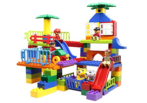 PK-Artricles Zoo Theme Building Blocks Toy, ihoven 80 PCS Educational Bristle Building Tiles Blocks Set Bristle Stacking Construction Toys Kit for Toddlers and Kids by PK-Artricles