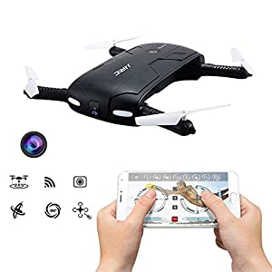 Hobbylane Self-timer Folding Drone with Camera, Altitude Hold Smartphone Mobile WiFi Remote Control FPV Selfies Quadcopter, Pocket Drone with 0.3MP Camera Headless Mode Led Night Lights (Black)