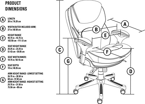 Serta Works Ergonomic Executive Office Chair With Back In
